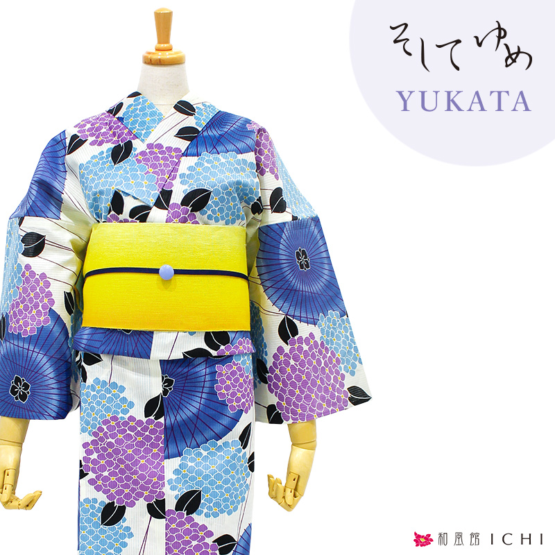 ◇ 傘と紫陽花 藤色 そしてゆめ ◇【浴衣単品】