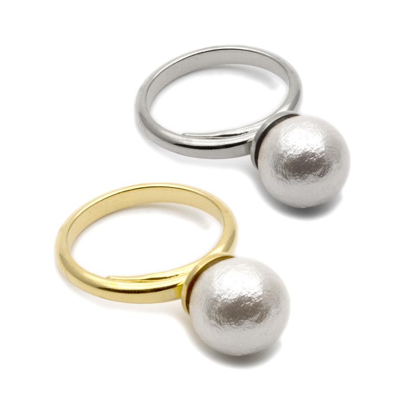 シンプルなコットンパールのリング(指輪)★カジュアルにもフォーマルにも使えるコットンパールリング★コットンパールリング★ コットンパール パール リング 指輪 シンプル ゴールド シルバー ホワイト 結婚式 おしゃれ ブランド