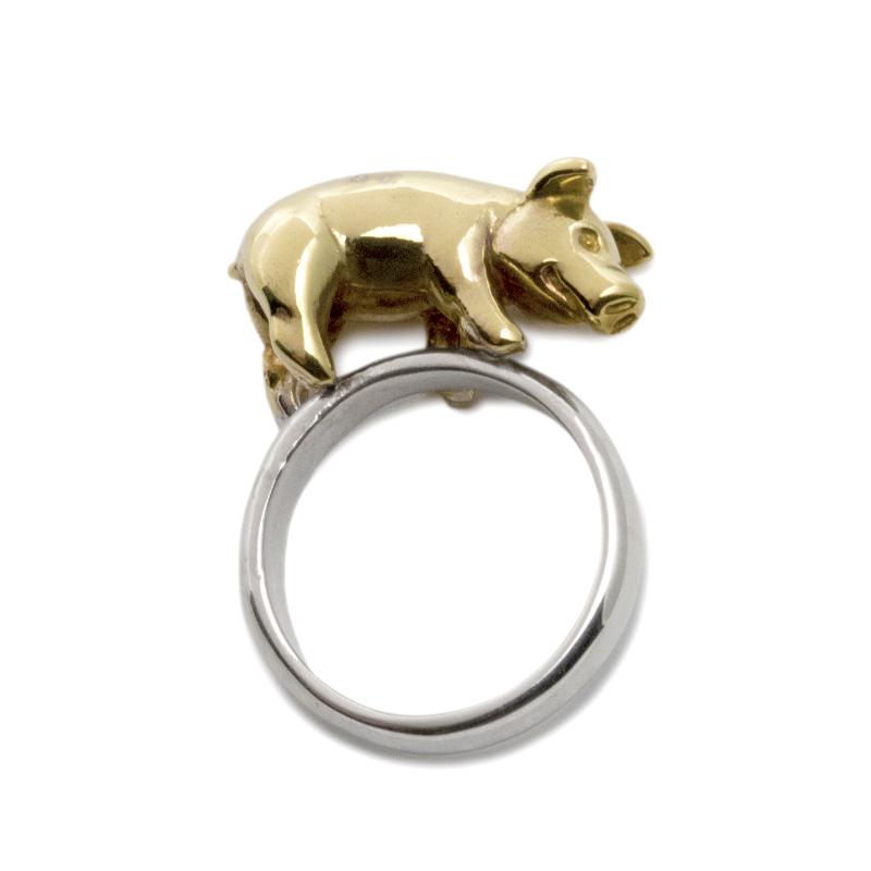 子豚 豚 ぶた こぶた 子ぶた ピッグ ブタ リング 指輪 シルバー シルバー925 真鍮 レディース メンズ ユニーク おもしろ ギフト プチギフト プレゼント おしゃれ ブランド SOLID DESIGN
