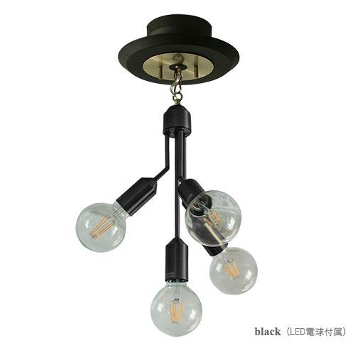 ◎ディクラッセ シーリングランプ LEDマレーノ/LED Mareno ブラック LEDランプ付き(白熱60W相当 ボール球形 電球色相当 E26口金)×4 引掛けシーリング LC3093BK