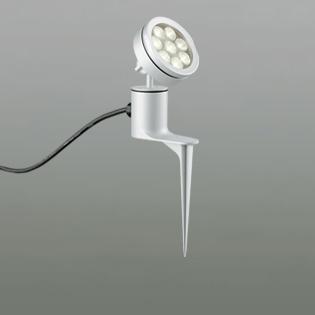 ◎ODELIC LEDエクステリアスポットライト スパイク式 プラグ付キャプタイヤケーブル LED一体型 ビーム球150W相当 電球色 ミディアム配光 本体マットシルバー 防雨型 OG254072