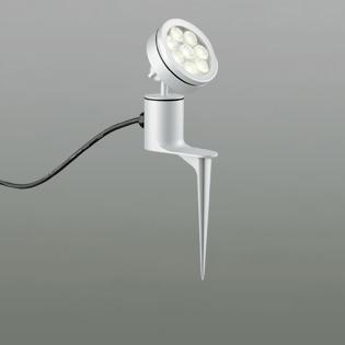 ◎ODELIC LEDエクステリアスポットライト スパイク式 プラグ付キャプタイヤケーブル LED一体型 ビーム球150W相当 電球色 ワイド配光 本体マットシルバー 防雨型 OG254074