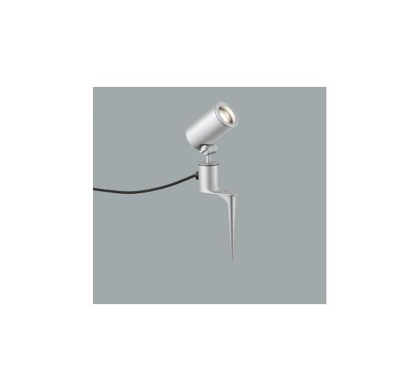 ◎ODELIC LEDエクステリアスポットライト スパイク式 プラグ付キャプタイヤケーブル LED一体型 ビーム球150W相当 電球色 ワイド配光 本体マットシルバー 防雨型 OG254350