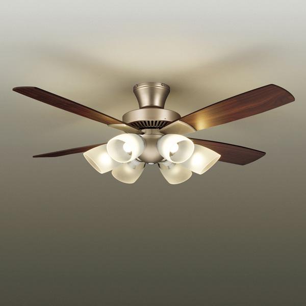 ◎DAIKO LEDシーリングファン 簡易取付式 (ランプ・リモコンスイッチ付) 6.0W電球色×6灯 本体シルバー 正転逆転切替 風量3段切替機能付 AS-566
