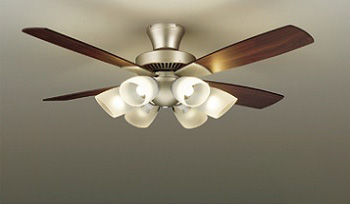 ◎DAIKO LEDシーリングファンライト 簡易取付式 (ランプ・リモコンスイッチ付) 6.0W電球色×6灯 本体シルバー 正転逆転切替 風量3段切替機能付 ASL-614