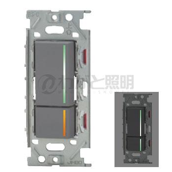 ◎神保電器 NKシリーズ配線器具 3路ガイドランプ付きスイッチ(上段ダブル・15A) ガイド・チェックランプ付き(下段トリプル・0.5A)スイッチダブルセット ソリッドグレー NKW02852SG ※受注生産品
