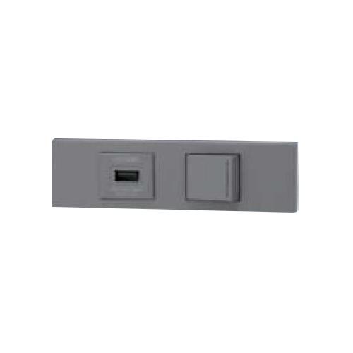 ◎神保電器 NKシリーズ 家具・機器用USBコンセント+3路ガイドスイッチセット(什器用) ソリッドグレー(SG) KAG-2582 ※受注生産品