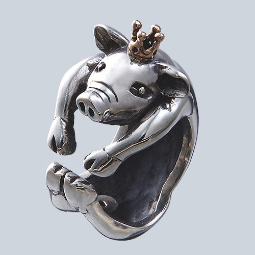 子豚の王様リング(ブタリング)ぶた 王冠 送料無料 動物モチーフ 指輪 指環 18金 K18ピンクゴールド シルバーアクセサリー SILVER925 女性 男性 プレゼント ギフト対応