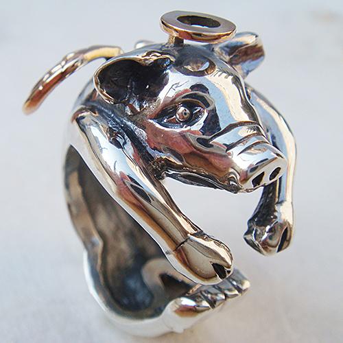 子豚の天使リング(ブタリング)ぶた 送料無料 動物モチーフ 指輪 指環 18金 K18ピンクゴールド シルバーアクセサリー SILVER925 女性 男性 プレゼント ギフト対応