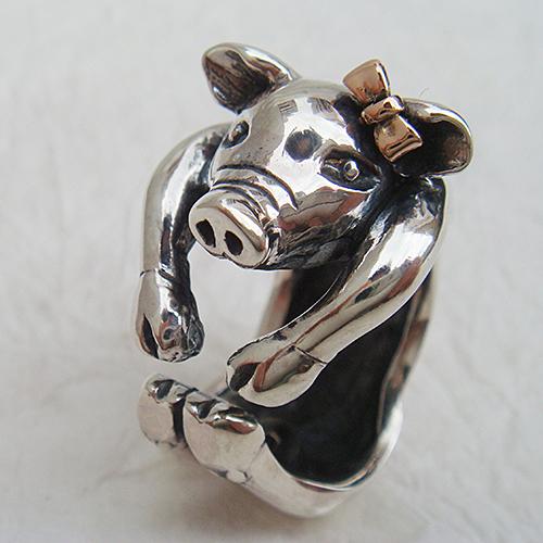子豚の花子リング(ブタリング)ぶた 送料無料 動物モチーフ 指輪 指環 リボン 18金 K18ピンクゴールド シルバーアクセサリー  女性 男性 プレゼント ギフト対応