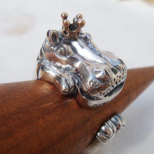 かばの王様リング(カバリング) 送料無料 動物モチーフ 指輪 指環 王冠 18金 K18ピンクゴールド シルバーアクセサリー  SILVER925 女性 男性 プレゼント ギフト対応