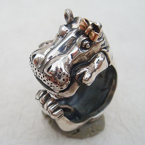 かばの花子リング(カバリング) 送料無料 動物モチーフ 指輪 指環 リボン 18金 K18ピンクゴールド シルバーアクセサリー  SILVER925 女性 男性 プレゼント ギフト対応