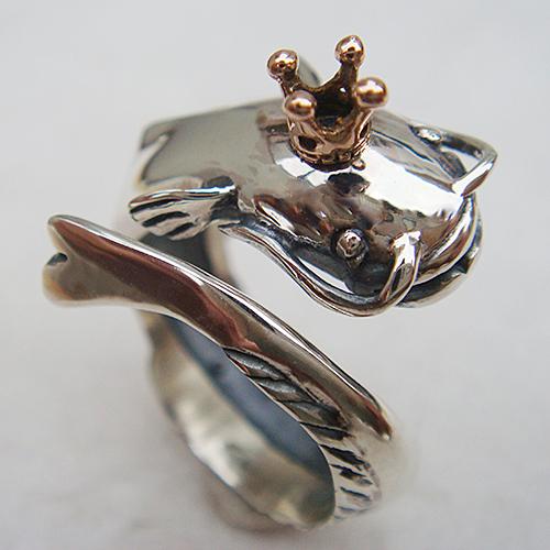 なまずの王様リング ナマズ 鯰 動物チーフ 指輪 指環 18金 K18ピンクゴールド シルバーアクセサリー SILVER925 女性 男性 プレゼント ギフト対応