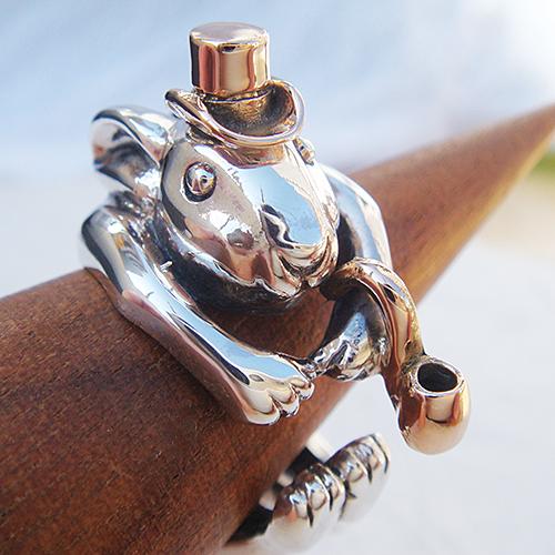 うさぎの紳士リング(ウサギリング) 送料無料 兎 干支 十二支 卯年 動物モチーフ 指輪 指環 18金 K18ピンクゴールド シルバーアクセサリー SILVER925 女性 男性 プレゼント ギフト対応