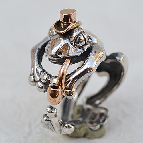 蛙の紳士リング大(カエルリング) 送料無料 かえる 蛙 18金 K18 ピンクゴールドシルバーアクセサリー 指輪 指環 動物モチーフ SILVER925 女性 男性 プレゼント ギフト対応