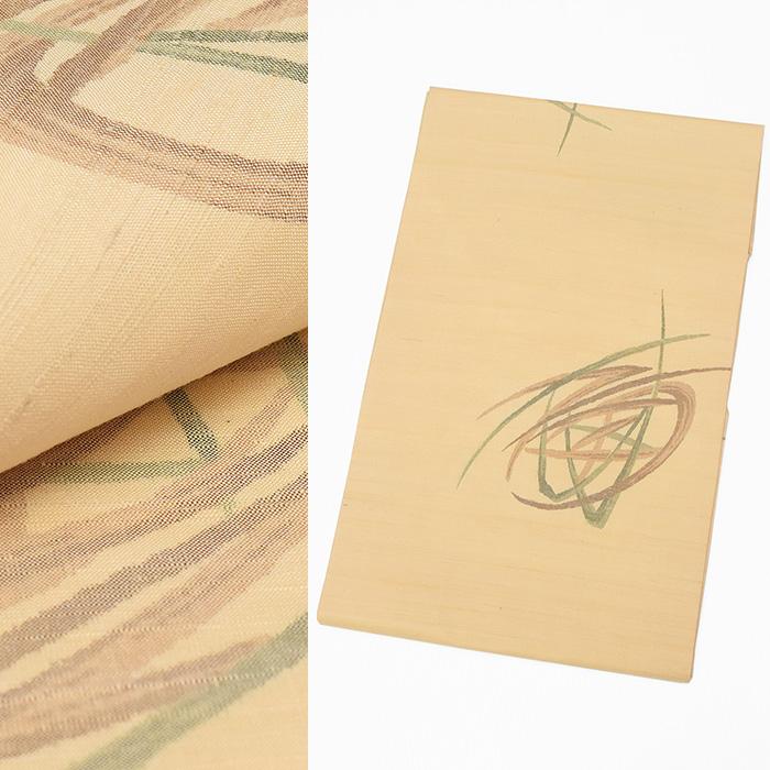 【ワゴンセール】手織り【正絹】仕立上り九寸名古屋帯 全通柄【仕立済】すぐ使えます★シルク 小紋 紬 着物 sngy240(1)
