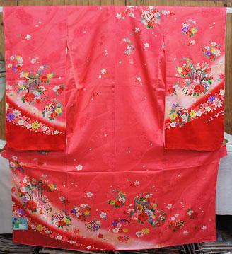 在庫処分大特価! 店頭展示品 753 七五三 正絹 ピンク系 女の子 7歳 祝い着 七歳 着物 長襦袢付 ※胴裏、裏地と長襦袢はポリエステルです。※重ね衿付き ※半衿別売り  少々訳あり
