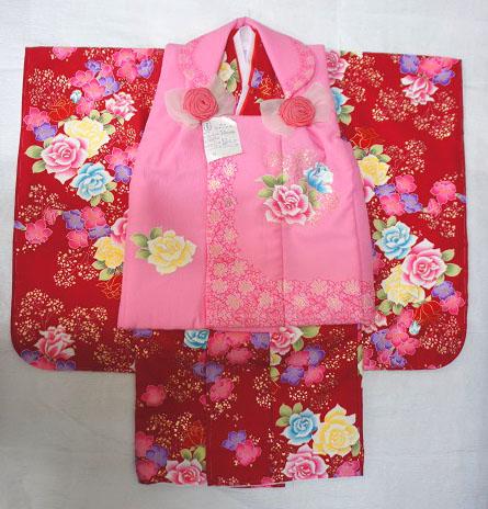 店頭見切り大特価! Childoll kids kimono 七五三着物 3歳 ひな祭り 正月 753 箱無し 雛祭り 着物 三歳女の子 被布 セット ピンク系 赤系 巾着 髪飾り 草履 巾着袋 足袋と半衿は別売りです。 店頭見切り