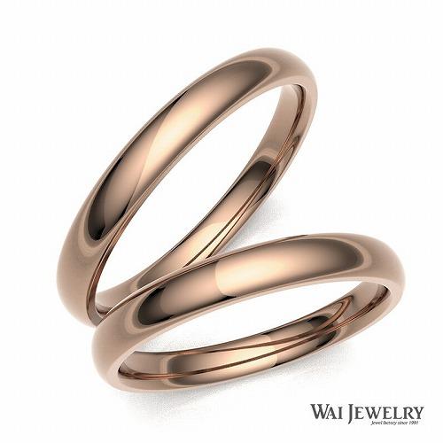 肌馴染みのよい18金ピンクゴールド結婚指輪 マリッジ ペアリング 2本セット シンプル甲丸リング自社製造で安心の品質予算10万円でお届け致します。ピンクゴールド ペアリング