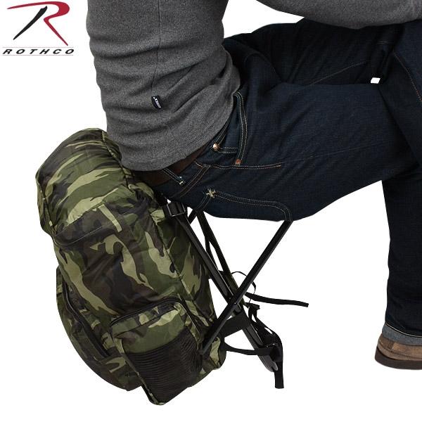 メンズ ミリタリー バッグ / ROTHCO ロスコ Backpack & Stool Combination ウッドランド迷彩 【ミリタリーバック】/ ミリタリー  【キャッシュレス5%還元対象品】