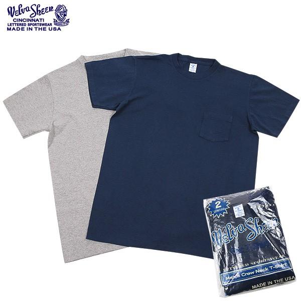 【21%OFFセール開催中】Velva Sheen ベルバシーン 2PAC ポケット付き Crew NecK Tシャツ NAVY+ H.GREY 【半袖Tシャツ】【ポケットTシャツ】【パックTシャツ】【2枚組】 春 /ミリタリー 軍物 メンズ  【キャッシュレス5%還元対象品】