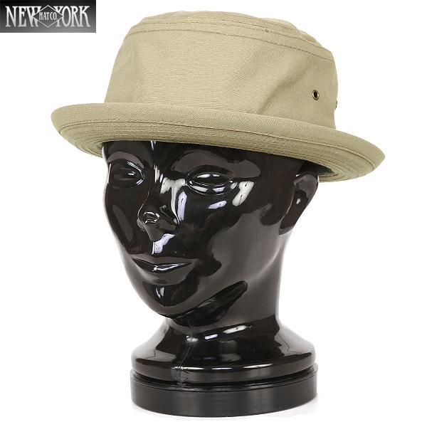 New York Hat/ニューヨークハット 3014 CANVAS ポークパイハット KHAKI/ ミリタリー 【キャッシュレス5%還元対象品】