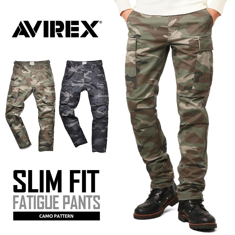 【送料無料】AVIREX アビレックス 6166123 FATIGUE PANTS ファティーグ カーゴパンツ CAMOUFLAGE スリムフィット  /【クーポン対象外】ミリタリー 軍物 メンズ