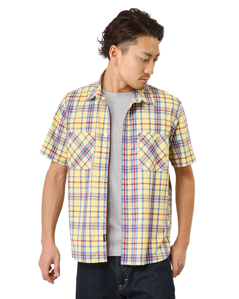 Gift of 10P01Oct16 gift of AVIREX avirex daily wear S/S Madras check shirt 6145136 men's military shirt tops check short sleeve cotton casual cotton spring summer fall [Px] [WIP]-