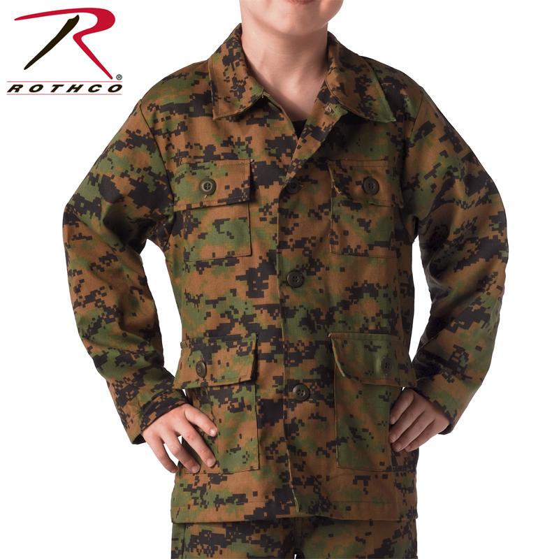 ROTHCO rothco kids DIGITAL CAMO BDU shirt jacket 66215 Woodland Digital Camo  kids junior military tops tactical survival game outdoors woodland Digital  Camo ... ae328b393cf