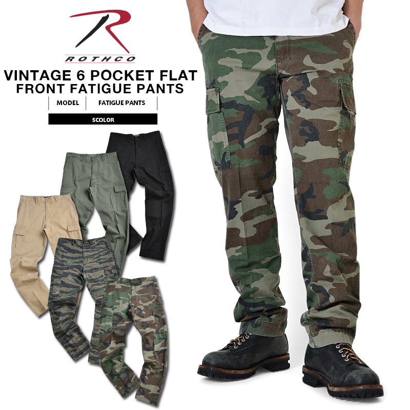 ROTHCO   Rosco 6 Pocket VINTAGE FLAT FRONT fatigue pants mens military  bottoms military pants army bread camouflage with squint