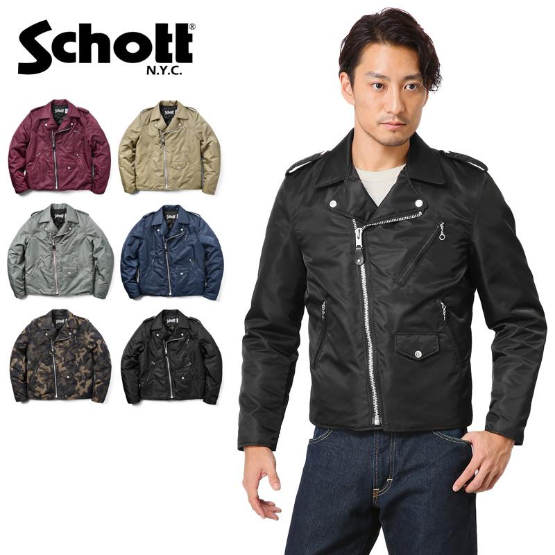 【45%OFF大特価】Schott ショット 3162018 ナイロン ダブル ライダース ジャケット【クーポン対象外】ミリタリー 軍物 メンズ