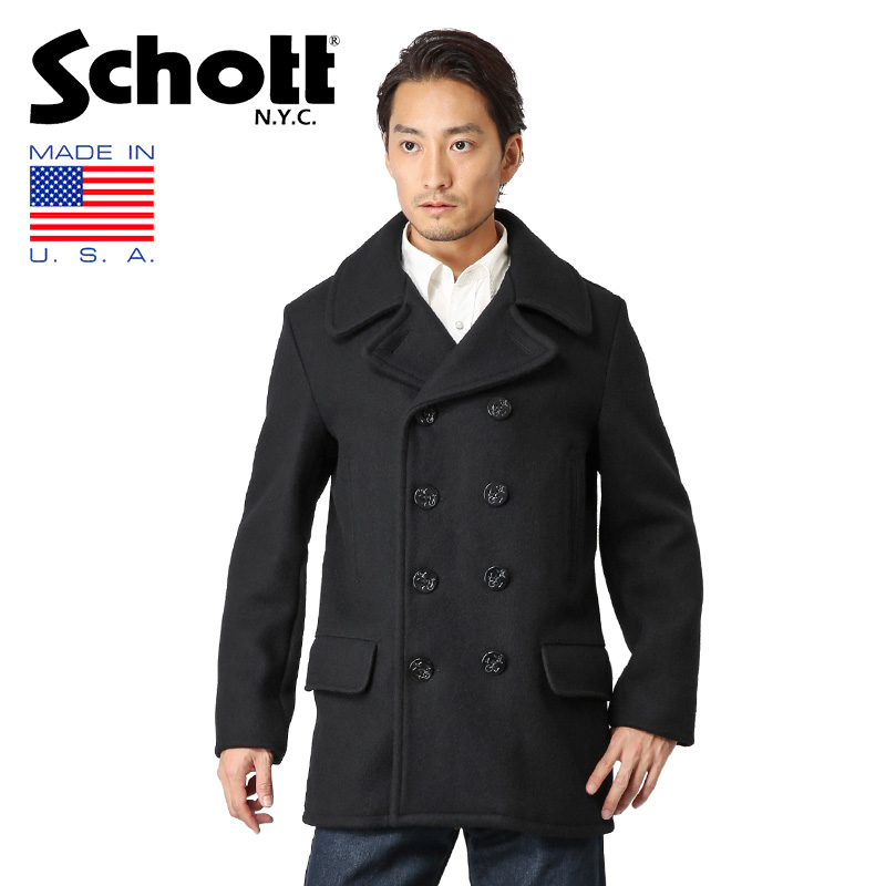 limited price moderate price lower price with Schott shot 782US WOOL 4 pocket middle pea coat NAVY 7378 / men outer pea  coat P coat long coat long pea coat double melton cold protection spring ...