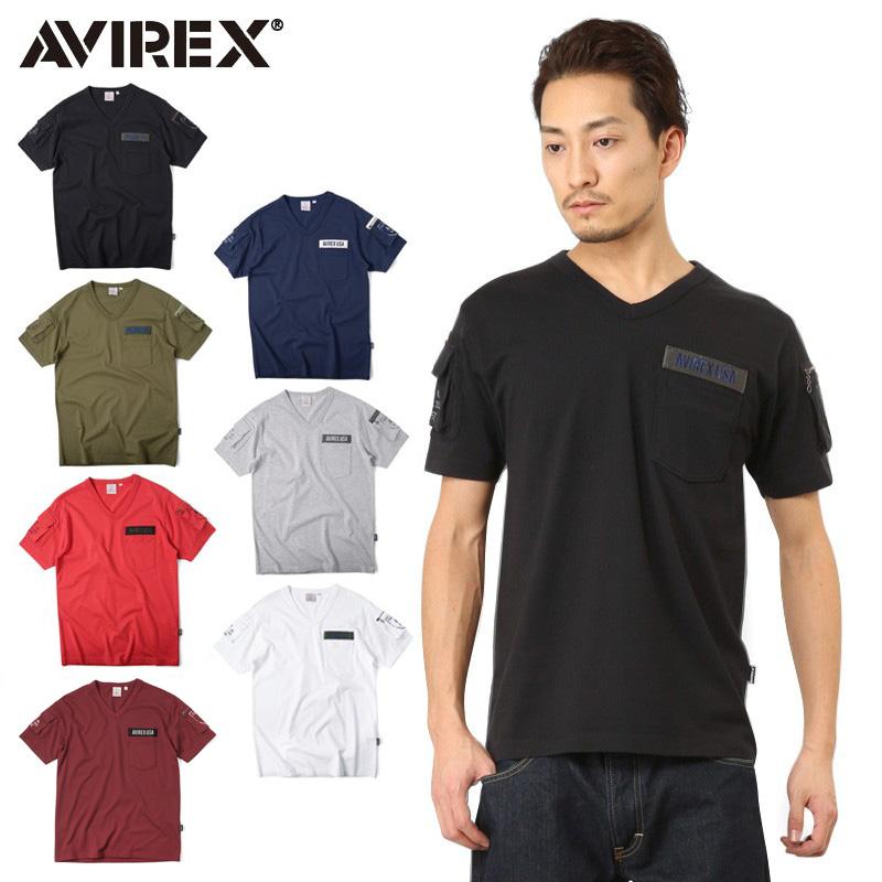AVIREX アビレックス 6143386 FATIGUE VネックTシャツ /【クーポン対象外】ミリタリー 軍物 メンズ  【キャッシュレス5%還元対象品】