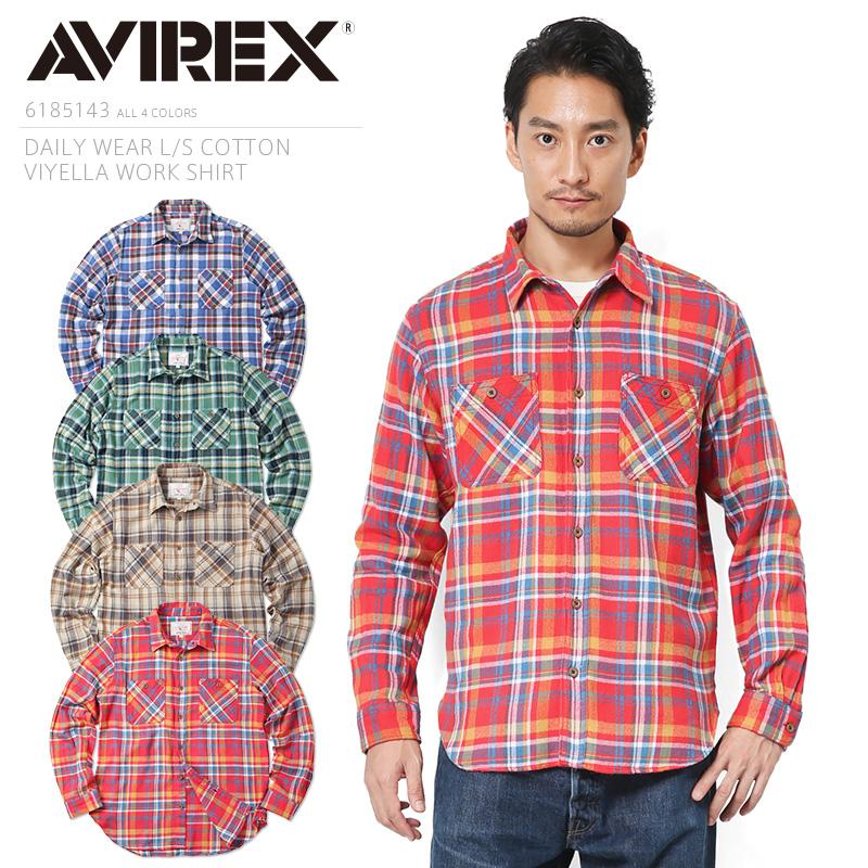 AVIREX アビレックス 6185143 デイリーウエア L/S コットンビエラ ワークシャツ /【クーポン対象外】ミリタリー 軍物 メンズ  【キャッシュレス5%還元対象品】