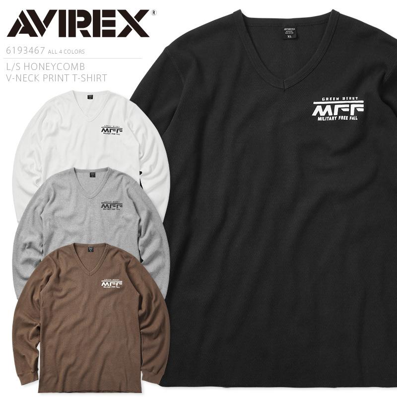 AVIREX アビレックス 6193467 L/S ハニカム Vネック プリントTシャツ【クーポン対象外】【キャッシュレス5%還元対象品】