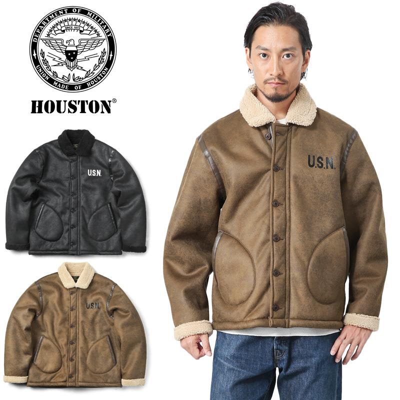 HOUSTON ヒューストン 50922 フェイクムートン N-1 デッキジャケット【キャッシュレス5%還元対象品】