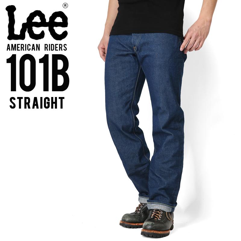 Lee リー AMERICAN RIDERS 101B ストレート デニムパンツ ミディアムインディゴ【LM5010-400】/メンズ ミリタリー【キャッシュレス5%還元対象品】
