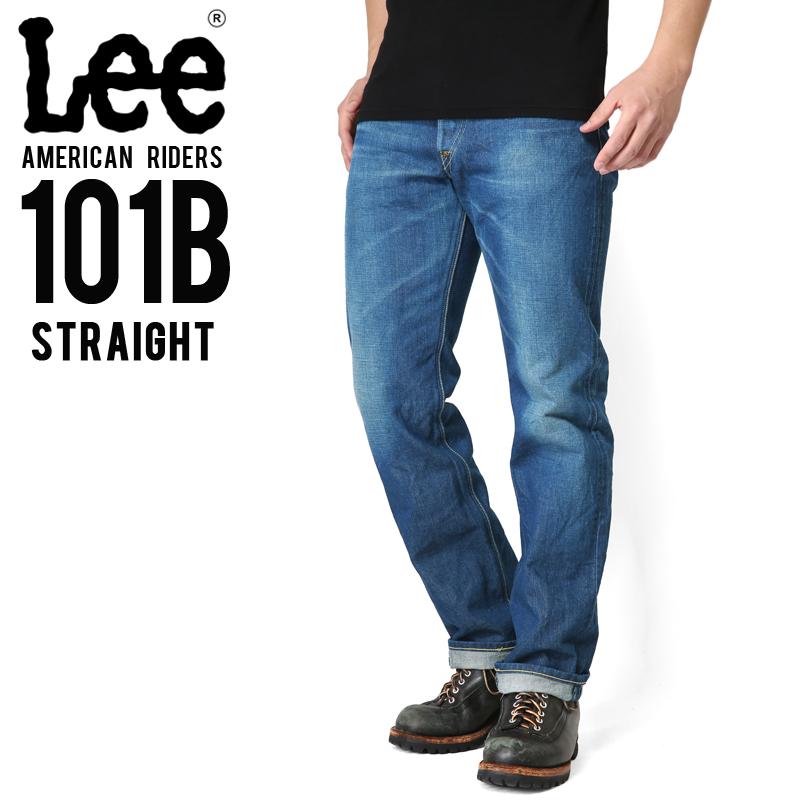 Lee リー AMERICAN RIDERS 101B ストレート デニムパンツ 中色ブルー【LM5010-446】/メンズ ミリタリー【キャッシュレス5%還元対象品】