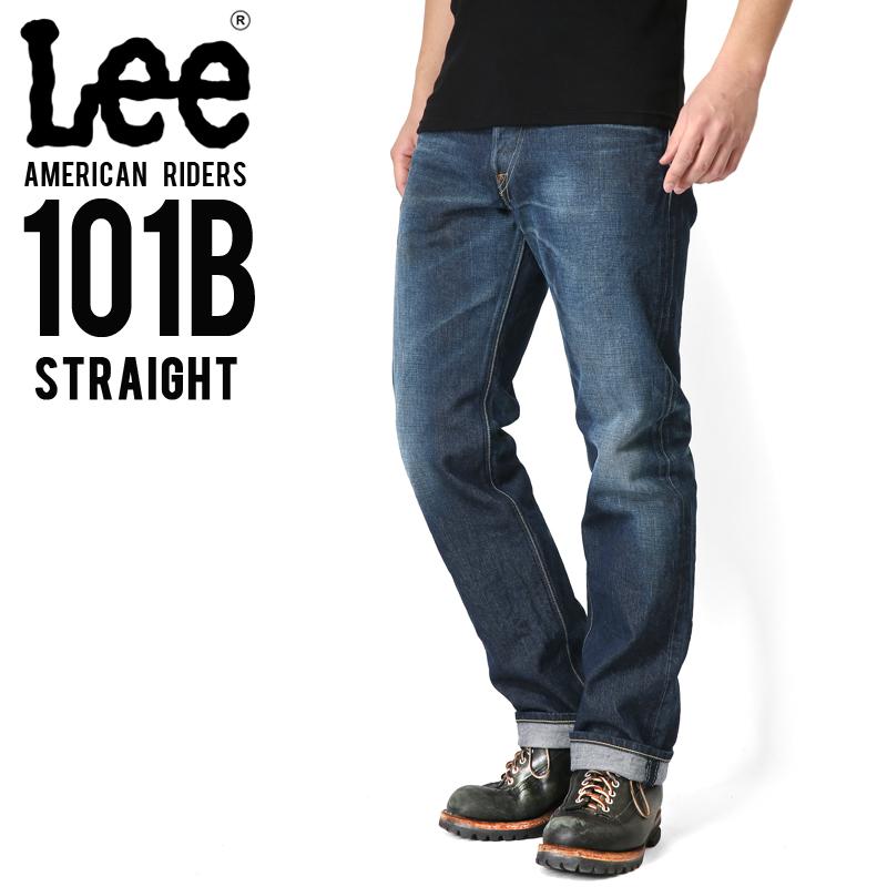 Lee リー AMERICAN RIDERS 101B ストレート デニムパンツ 濃色ブルー【LM5010-526】/メンズ ミリタリー【キャッシュレス5%還元対象品】