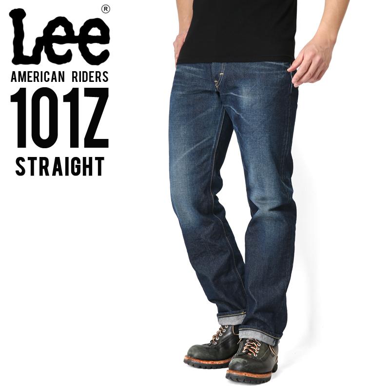 Lee リー AMERICAN RIDERS 101Z ストレート デニムパンツ 濃色ブルー 【LM5101-526】/メンズ ミリタリー【キャッシュレス5%還元対象品】