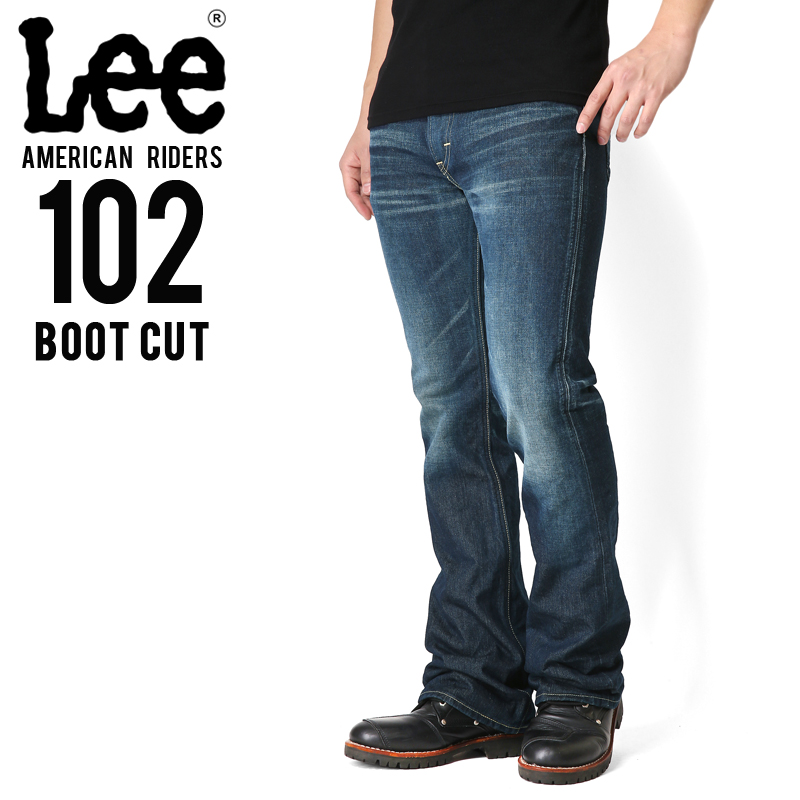 Lee リー AMERICAN RIDERS 102 ブーツカット デニムパンツ 濃色ブルー【LM5102-526】メンズ ミリタリー【キャッシュレス5%還元対象品】
