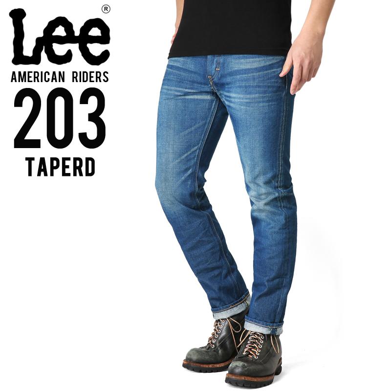 【15%OFFクーポン対象品】Lee リー AMERICAN RIDERS 203 テーパード デニムパンツ 淡色ブルー 【LM5203-446】/ミリタリー 軍物 メンズ