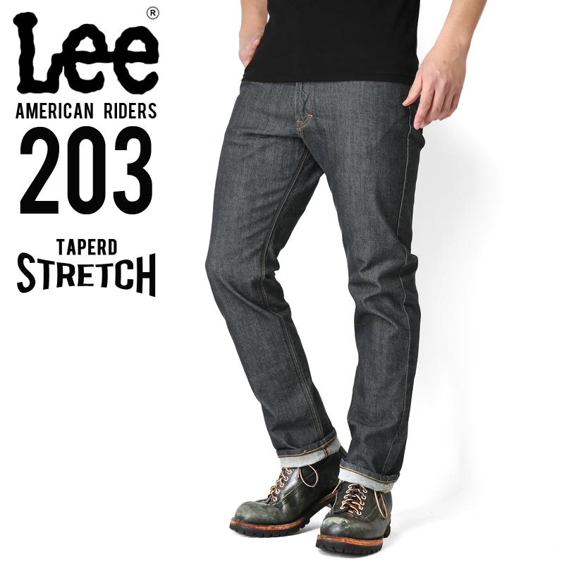 Lee リー AMERICAN RIDERS 203 テーパードストレッチ パンツ インディゴブルー【LM5203-600】/ミリタリー 軍物 メンズ  【キャッシュレス5%還元対象品】