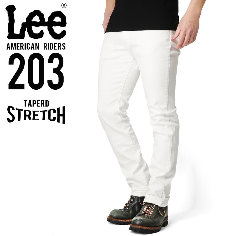 Lee リー AMERICAN RIDERS 203 テーパードストレッチ パンツ ホワイト【LM5203-618】/ミリタリー 軍物 メンズ  【キャッシュレス5%還元対象品】