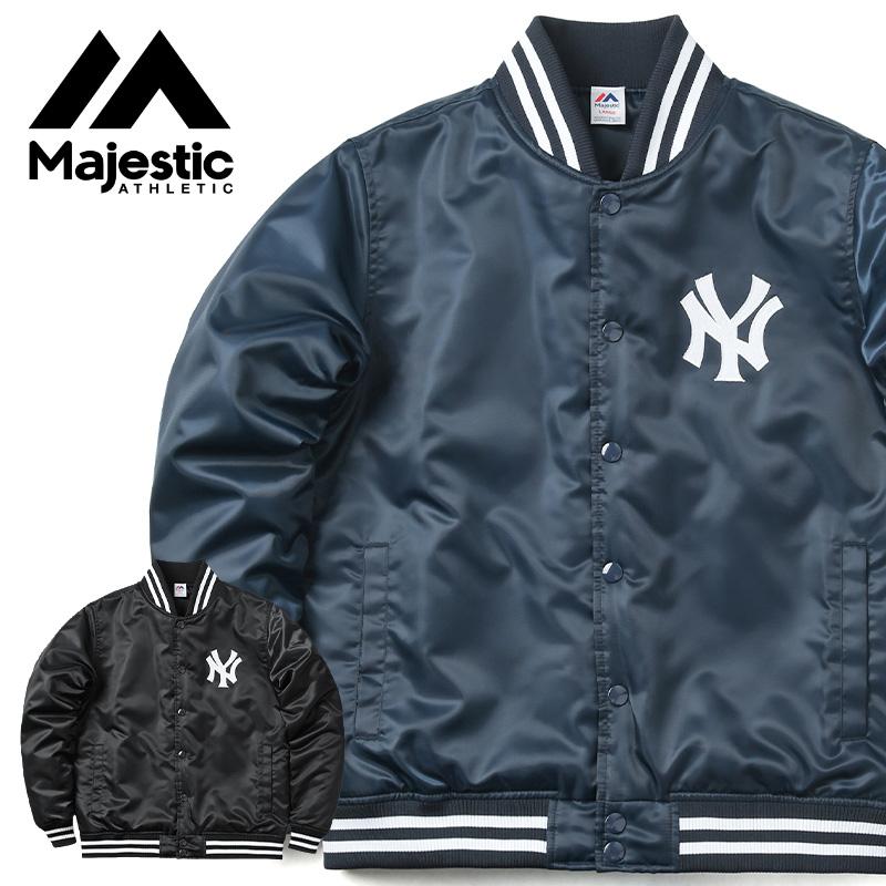 【21%OFFセール開催中】MAJESTIC マジェスティック ニューヨークヤンキース バックロゴ サテン スタジアムジャケット MM23-NY-9F04