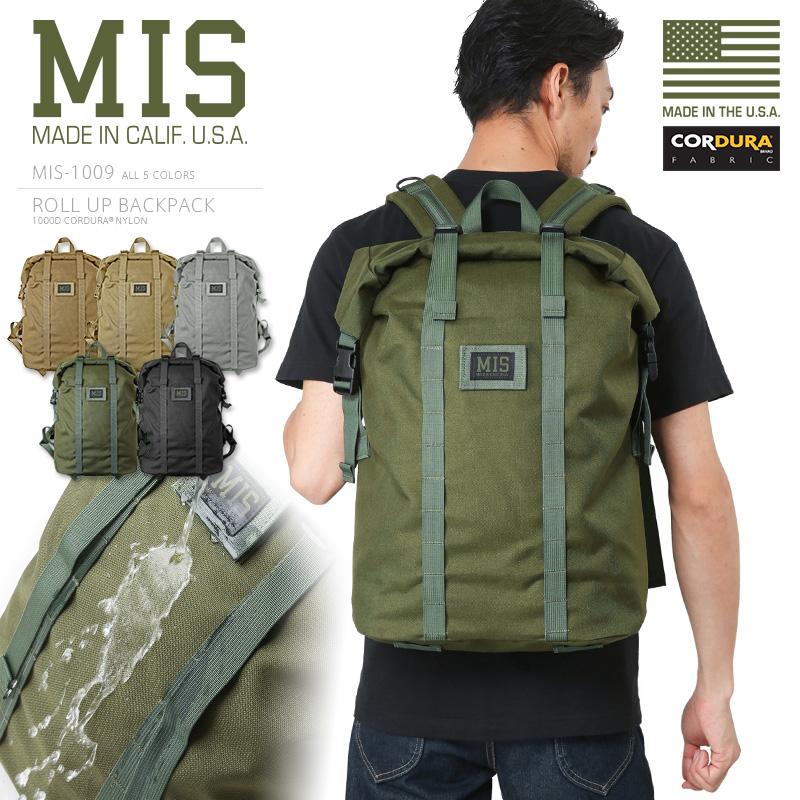 MIS エムアイエス MIS-1009 CORDURA NYLON ロールアップ バックパック / リュックサック MADE IN USA《WIP》ミリタリー 軍物 メンズ 男性 ギフト プレゼント アメリカ製 MIL-SPEC ミルスペック
