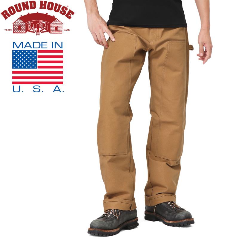 Round House ラウンドハウス 17RH2202 米国製 DOUBLE FRONT DUCK ペインターパンツ/ミリタリー 軍物 メンズ  【キャッシュレス5%還元対象品】