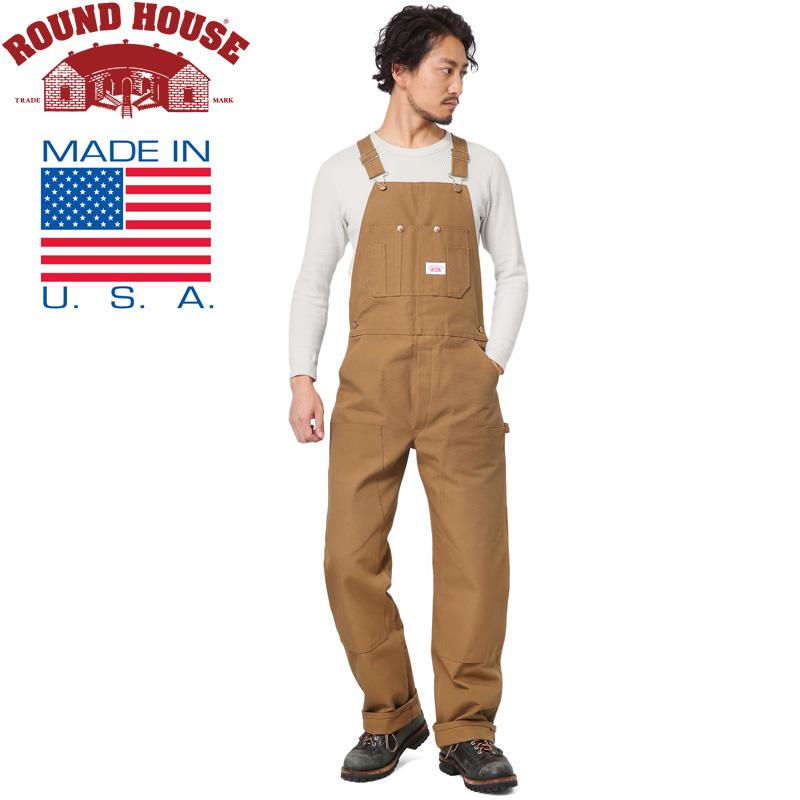 【20%OFFクーポン対象】Round House ラウンドハウス 17RH383 米国製 HEAVY DUTY DUCK BIB オーバーオール BROWN《WIP》ミリタリー 軍物 メンズ 男性 ギフト プレゼント