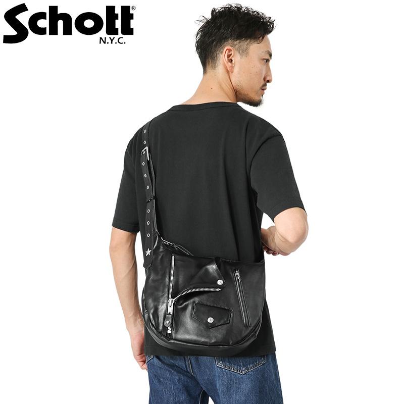 Schott ショット 3109063 LEATHER RIDERS SHOULDER BAG(レザー ライダース ショルダーバッグ)【クーポン対象外】