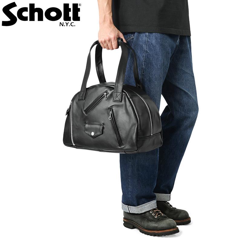 Schott ショット 3109069 LEATHER RIDERS BOSTON BAG(レザー ライダース ボストンバッグ)【クーポン対象外】